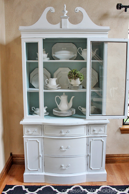 Duck and White China Hutch