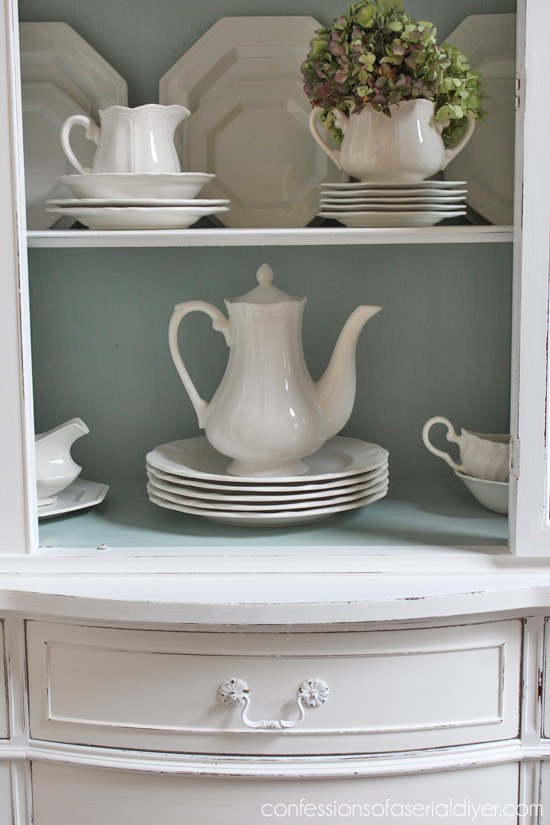 The outside is Annie Sloan Chalk Paint® in Pure white and the inside is a mix of Pure White and Duck Egg Blue.