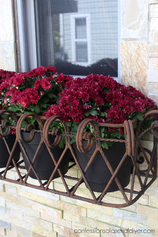 Window boxes filled with smaller pots