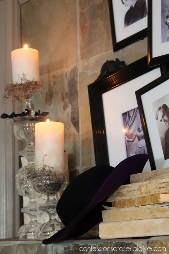 Pottery Barn Ghostly Gallery Inspired Halloween Mantel