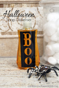 Make this super simple boo-riffic soap dispenser for your next Halloween party!