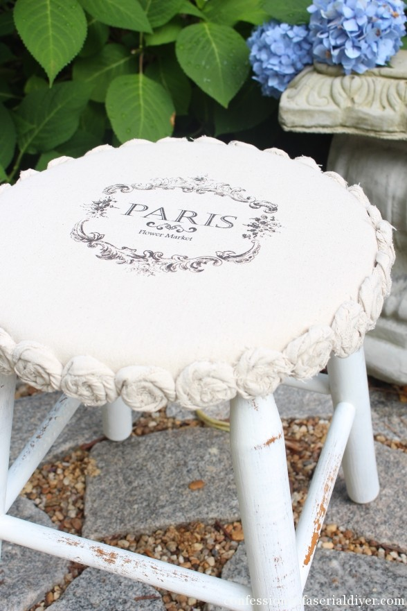 Stool makeover with dropcloth rosettes