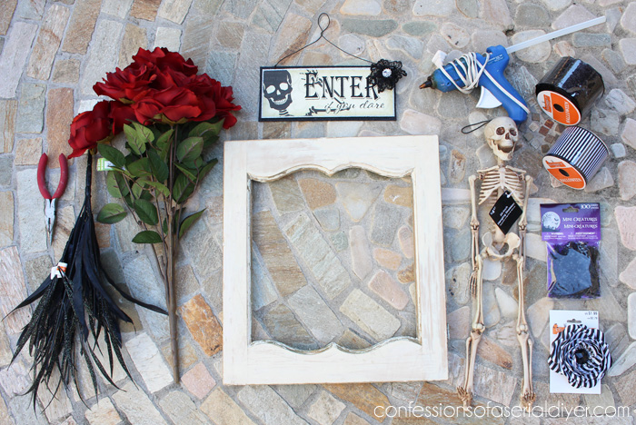 Halloween Wreath from a salvaged cabinet door