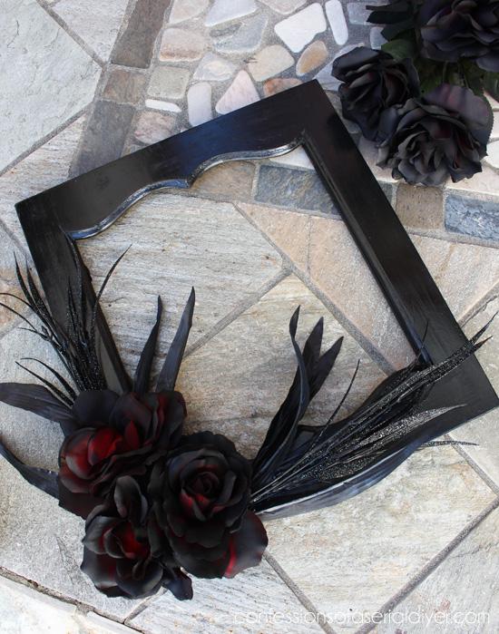 Halloween Wreath from a salvaged cabinet door