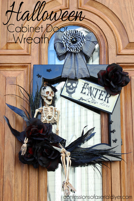 DIY Cabinet Door Halloween Wreath from Confessions of a Serial DIYer  | Halloween Favorites at www.andersonandgrant.com