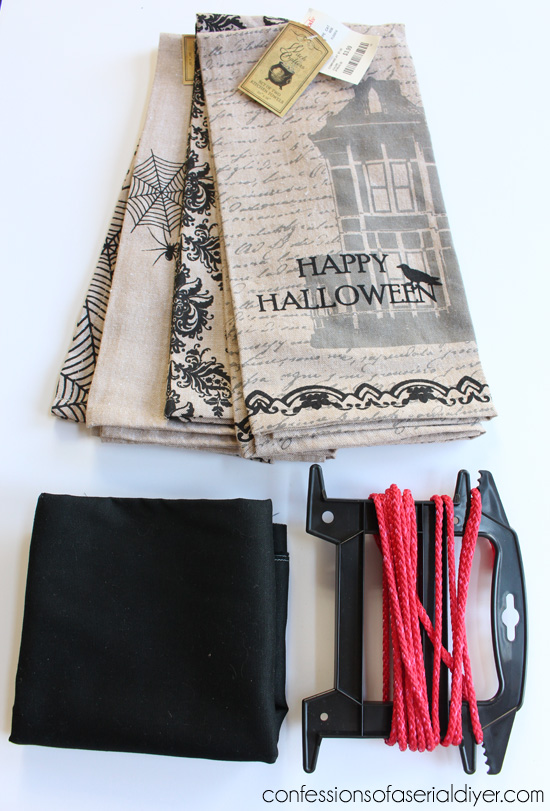 Tea Towel Halloween Pillows