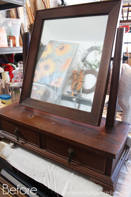 Antique-Mini-Chest-withMirror-Makeover-Before