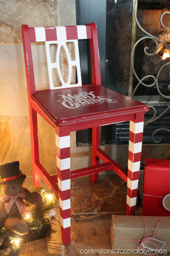 This little chair got a sweet Christmas Makeover!