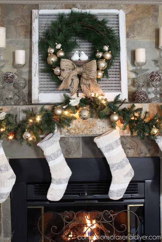 Christmas Wreath Tutorial and Mantel
