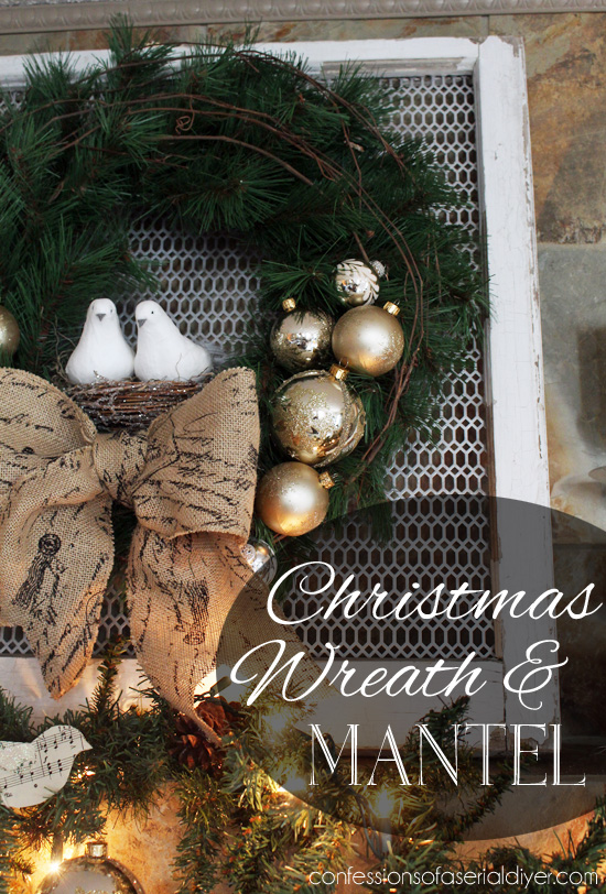 Super Simple Christmas Wreath and Mantel