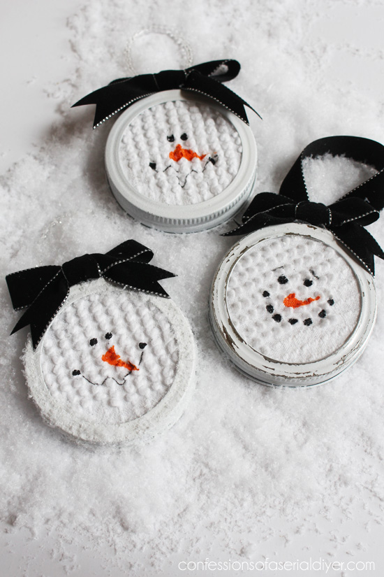 Mason Jar Lid Snowman Ornaments from Confessions of a Serial Do-it-Yourselfer