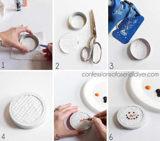 Mason Jar Lid Snowman Ornaments how-to from Confessions of a Serial Do-it-Yourselfer