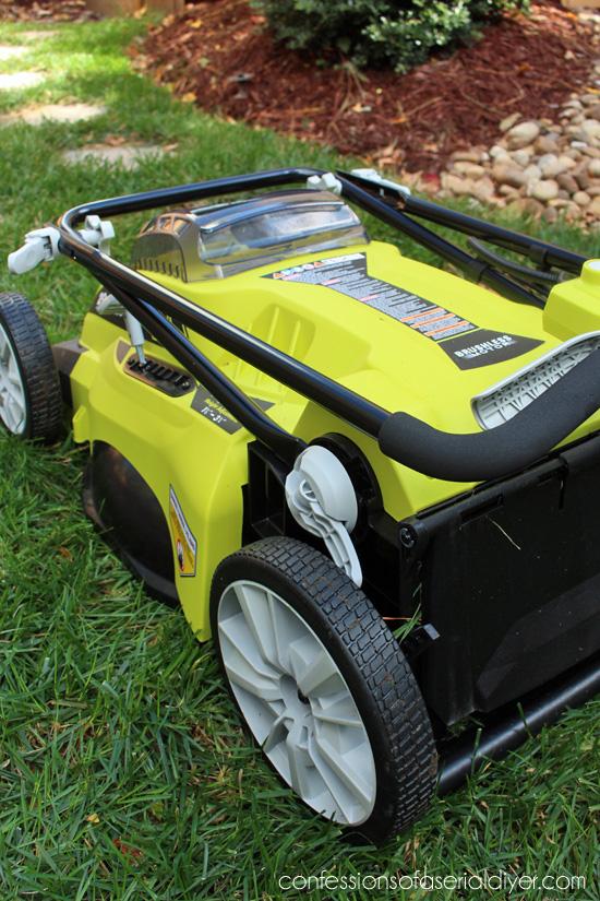 RYOBI mower folds flat