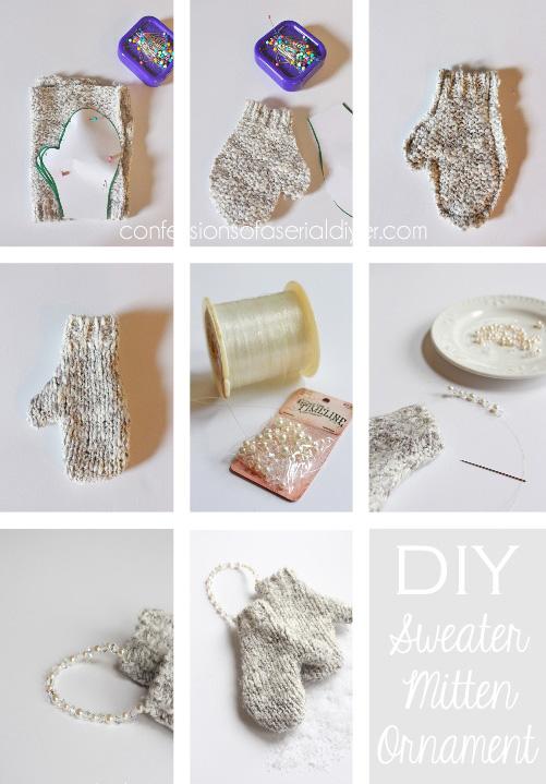 DIY Mitten Ornament Tutorial...no knitting required!