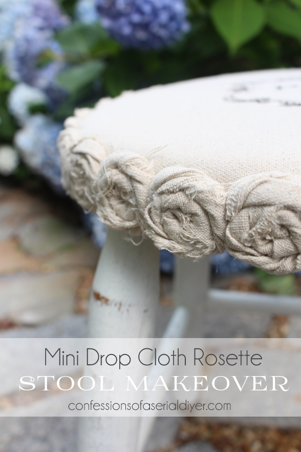 Stool Transformed with a little dropcloth made into rosettes