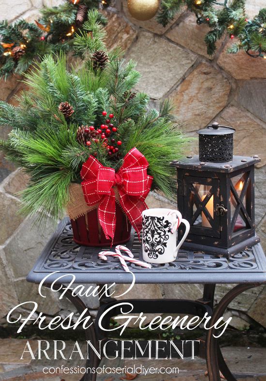{Faux} Fresh Greenery Arrangement- Perfect to greet Holiday guests!