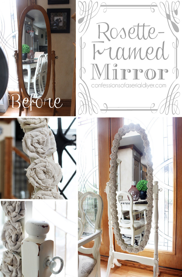 Rosette Framed Mirror made with drop cloth rosettes