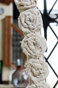 Rosettes made from drop cloth