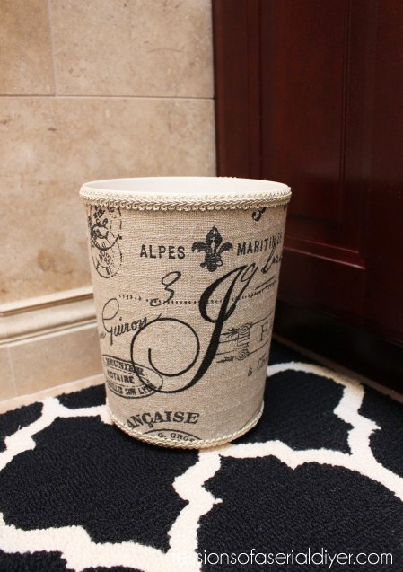 Ballard Inspired Monogrammed Wastebasket from a Cheap Plastic Garbage Can/ Confessions of a Serial Do-it-Yourselfer