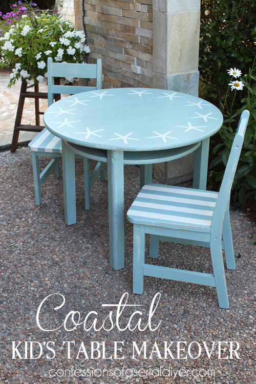 Super fun coastal inspired kid's table makeover/Confessions of a Serial Do-it-Yourselfer