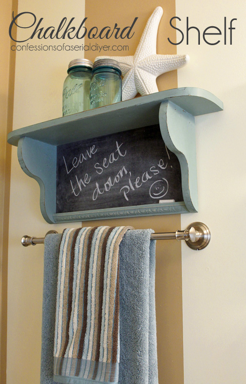 Adding a chalkboard to this little shelf gave it a whole new personality. ?Confessions of a Serial Do-it-Yourselfer