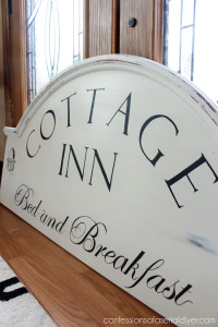 Cottage Inn Bed and Breakfast Sign from a Thrift Store Headboard