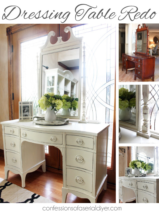 Estate Sale Dressing Table Makeover using Annie Sloan chalk paint in Old White