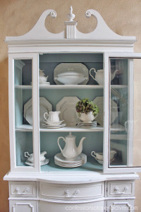 Blue and white china cabinet/ Confessions of a Serial Do-it-Yourselfer