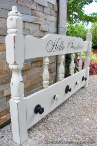 Turn an old headboard into a great place to hang coats, towels, backpacks, or whatever!/ Confessions of a Serial Do-it-Yourselfer
