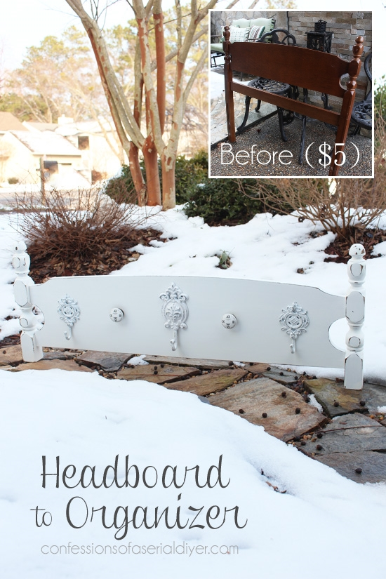 Headboards are perfect for transforming into coat racks, or towel racks.