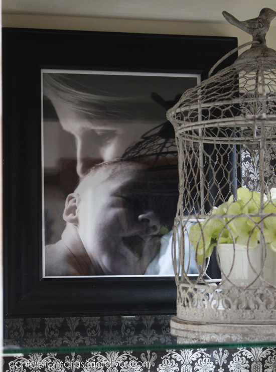Favorite photos are perfect for decorating a hutch