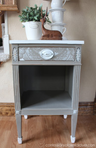 Lacy -Drawer Side Table- using a lacey curtain panel as a stencil!