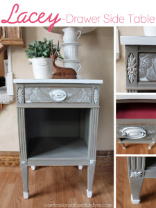 Lacey -Drawer Side Table- using a lacey curtain panel as a stencil!
