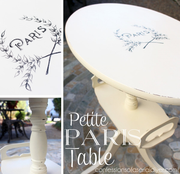 Petite side tables with French Graphics/Confessions of a Serial Do-it-Yourselfer
