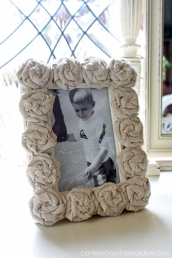 A boring frame is updated with DIY rag rosettes