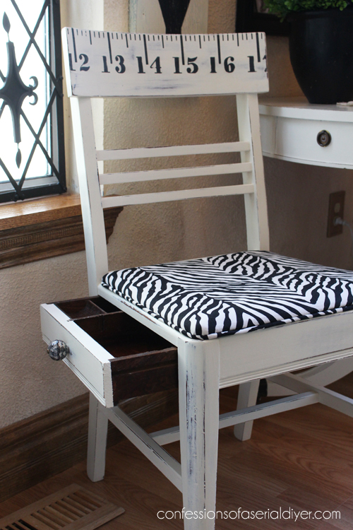 Sewing chair with ruler graphic and secret drawer. Perfect for a craft room! Confessions of a Serial Do-it-Yourselfer