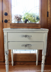 Sewing cabinets make perfect side tables!