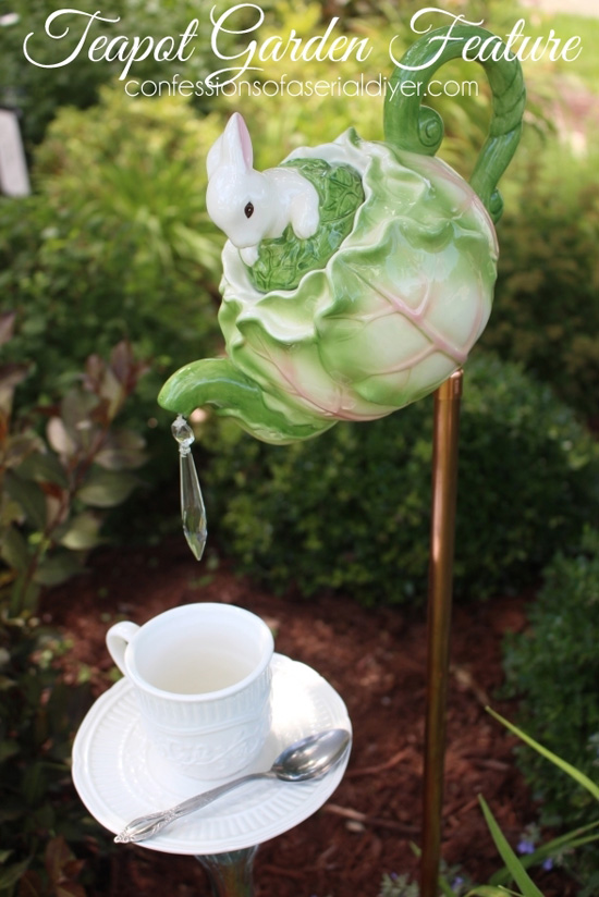 Garden Feature mad from a Teapot and Cup and Saucer/Confessions of a Serial Do-it-Yourselfer