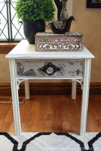 Update a side table by adding fabric to the drawer/s