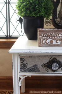 Updated Side Table with Fabric Drawer