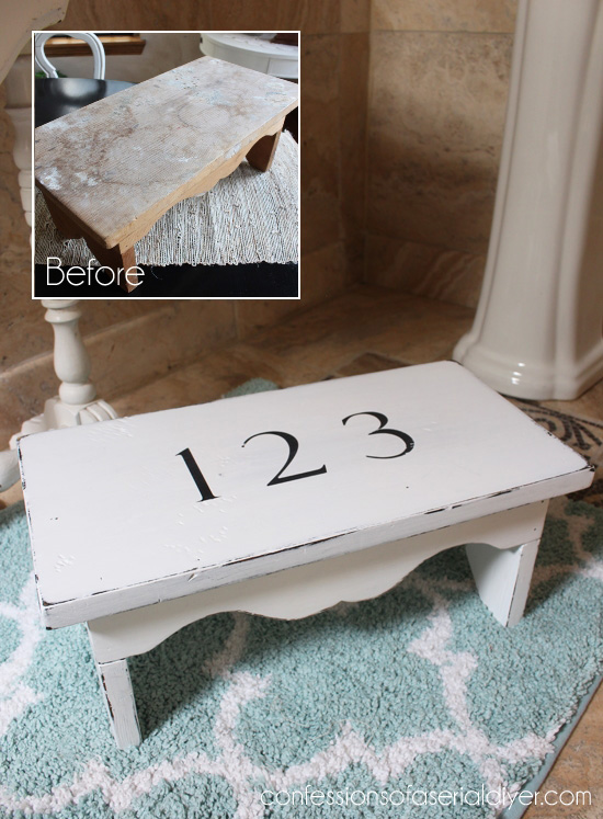 Paint and simple numbers revived this crusty old stool.