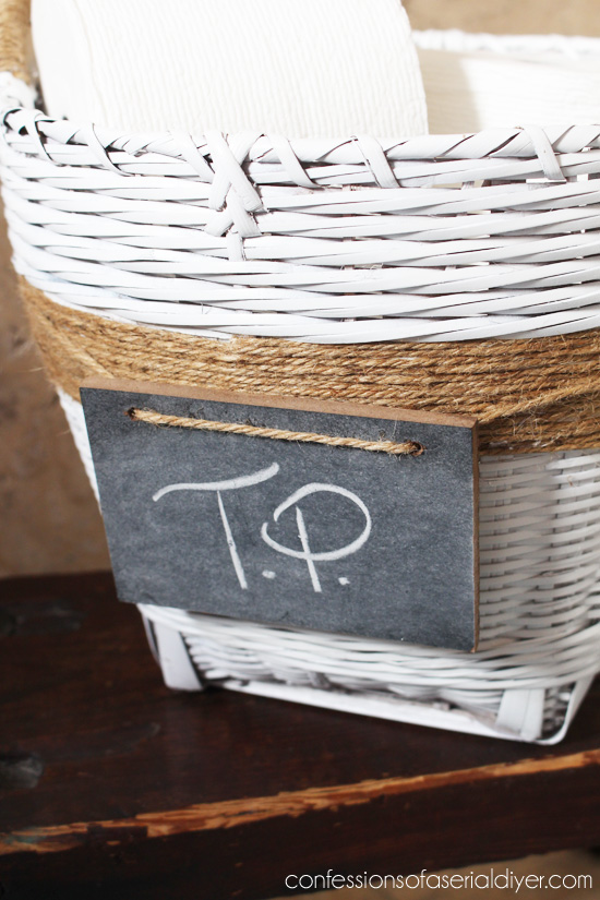 Upcycle a basket with paint, jute, and a chalk board.