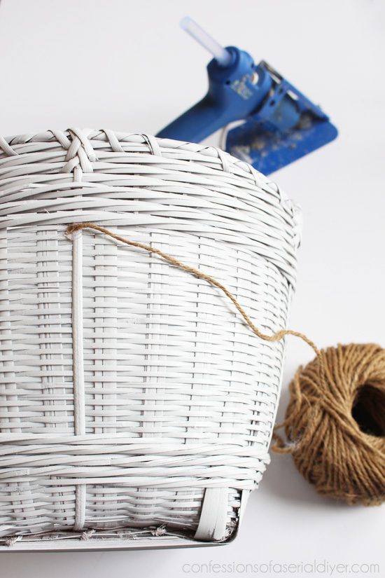 Adding jute twine to the center of this basket adds the perfect contrast.