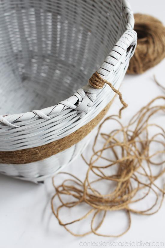 Embellish a plain white basket with jute twine.