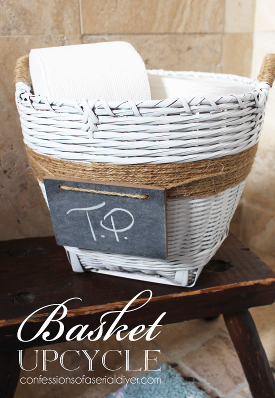 Basket Upcycled with a little paint and jute twine.