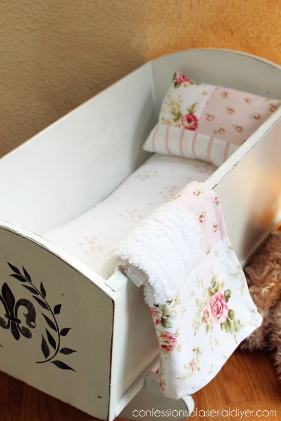 Doll cradle with a shabby sweet makeover