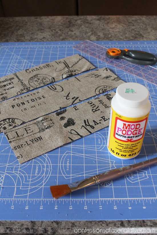 Mod Podge is perfect for adding fabric to furniture.