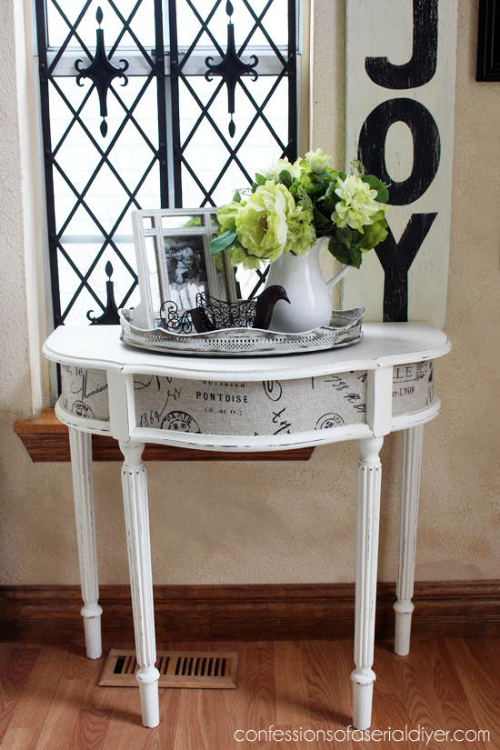 Entry Table updated with paint and fabric!