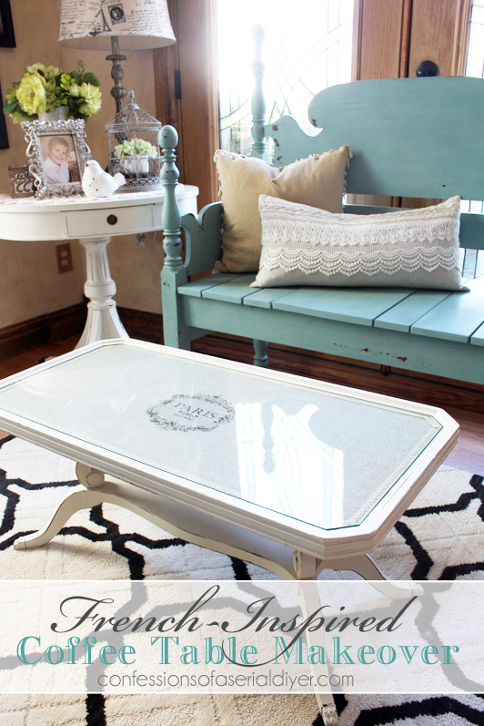 French Inspired Coffee Table Makeover With Fabric And Lesley Rileys TAP Paper