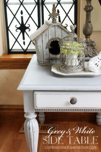 Grey & White Painted Side Table